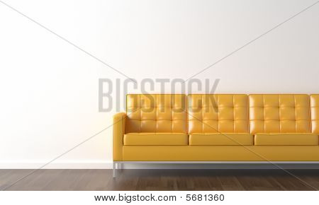 Yellow Couch On White Wall