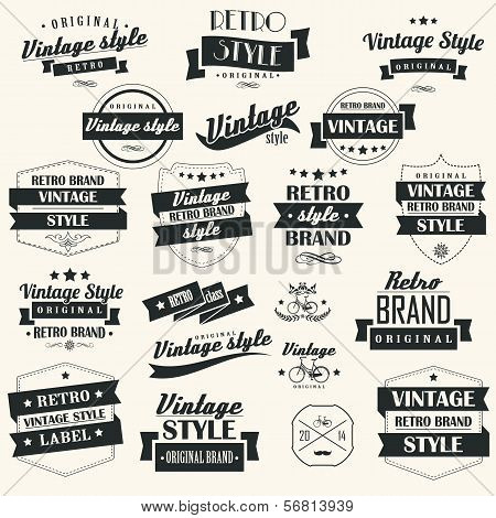 Set of vintage retro labels, stamps, ribbons, marks and calligraphic design elements, typographic