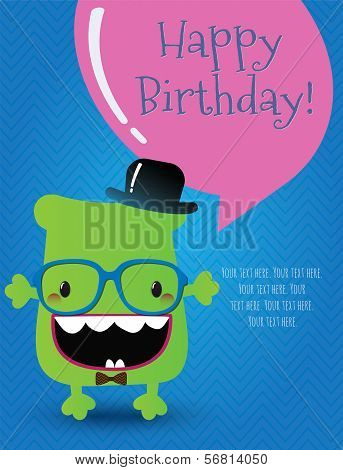 Hipster Monster Birthday Card. Vector Illustration