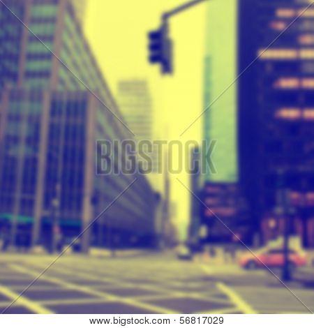 Blurred image of city scene.Vintage style.