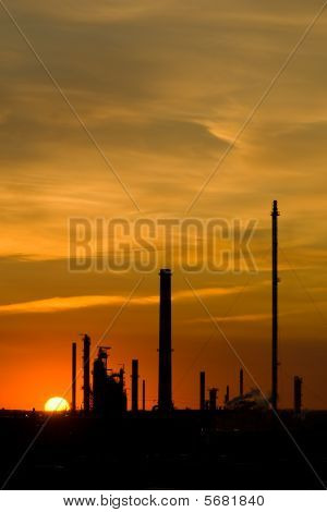 Industrial Sunset With Copy Space