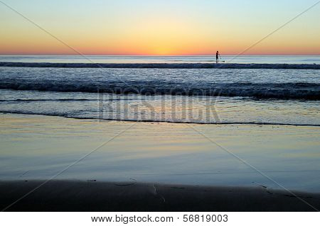 Beach Sunset with Paddler
