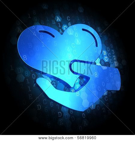 Icon of Heart in the Hand on  Digital Background.