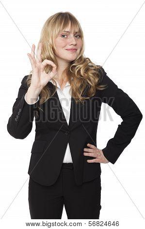 Stylish Businesswoman Making A Perfect Gesture