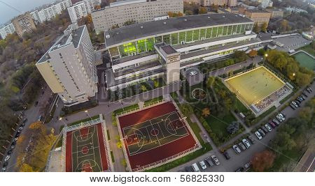 MOSCOW - OCT 11: View from unmanned quadrocopter to people plays on playgrounds in front the Moscow State Technical University on October 11, 2013 in Moscow, Russia.