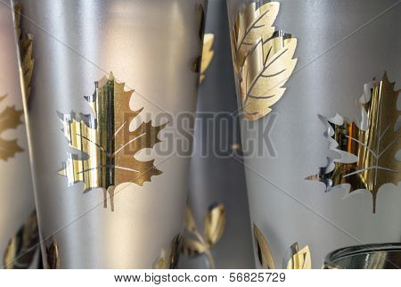Gold Leaves On Glass