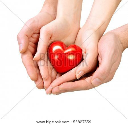 Valentine Heart in Man and Woman Hands isolated on white Background. Love and Relationships Concept. Valentines Day Postcard Art Design. Couple Taking Red Heart in their Hand. Valentines Day