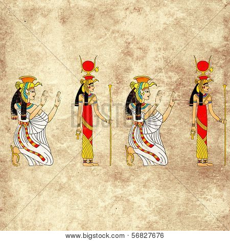Seamless background with Egyptian goddess Isis image
