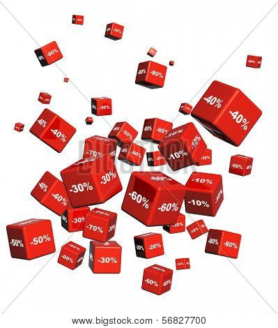 Red boxes with the goods at a discount. Objects isolated on white background