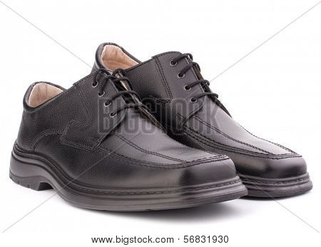 Black glossy man�?�¢??s shoes with shoelaces isolated on white background