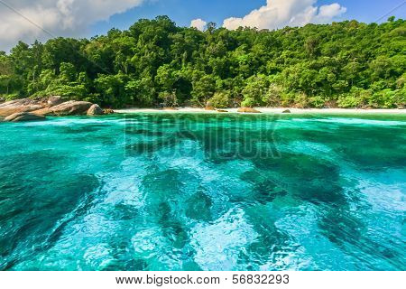 Crystal Clear Water Of Tropical Island