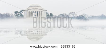 Washington DC - Thomas Jefferson Memorial in a foggy winter day