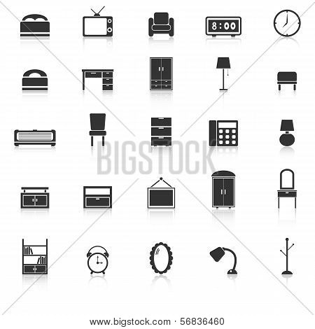 Bedroom Icons With Reflect On White Background