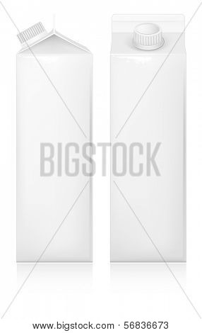 Milk and juice white carton package. Vector illustration.