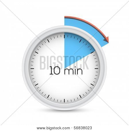 Ten minutes stopwatch timer. Vector illustration.