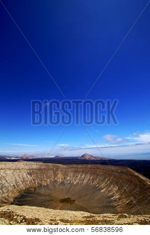 Timanfaya Vulcanic  Rock Stone Sky  Hill And Summer