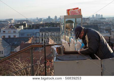 ZAGREB, CROATIA - JANUARY 12, 2014: Stret vendor in Zagreb, Croatia. Selling popcorn and roasted chestnuts