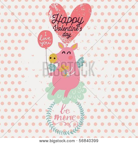 Cute piglet angel in cartoon style. Gentle Valentines day card in vector. Childish background with polka dot in pastel colors