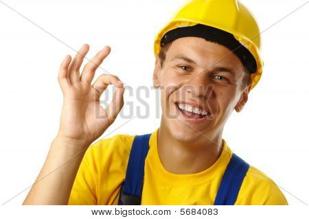 Worker Showing Ok Sign