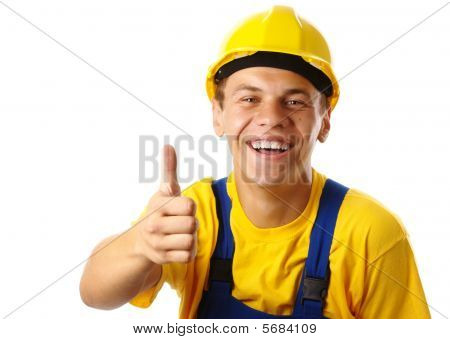 Young Worker Showing Thumb Up Sign