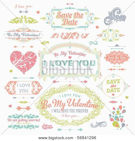 Valentine's Day and Wedding Set. Labels, Frames, Ornaments and Decorative Elements. Banner, Ribbon, badges and stickers - all for Love Design.