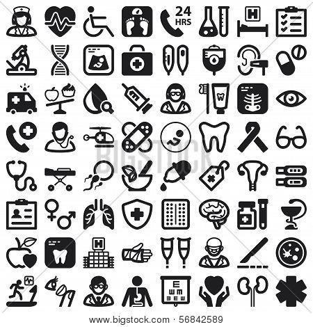 Health Flat Icons. Black