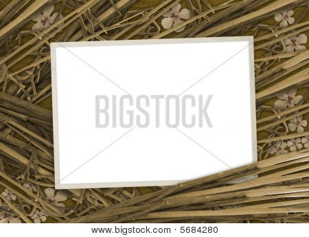 Grunge Paper For Invitation With Flowers And Bamboo