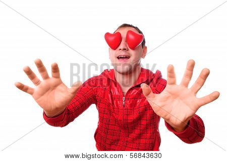 Man With Red Heart-shapes