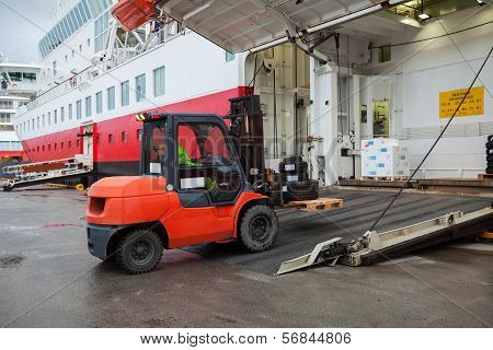 Big Passenger Ferry Loading With Lift Truck