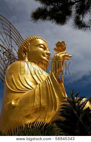 Golden Buddha holding the golden lotus from the up angle.