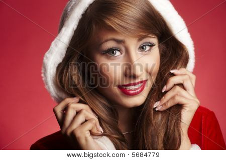 Beautiful Woman Wearing Fur Hood