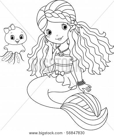 Mermaid coloring page.eps