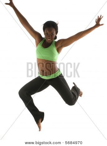 Young Pretty Hispanic African American Woman Exercising Dance Ballet