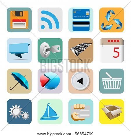 Illustration Web Icons for the Internet, Isolated on White Background. Vector Set.