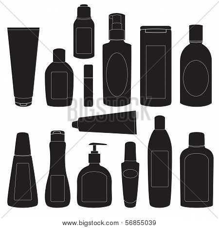 Set 1 of cosmetic bottles silhouettes