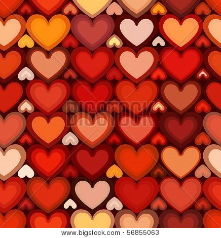 Red mottled hearts vector seamless pattern