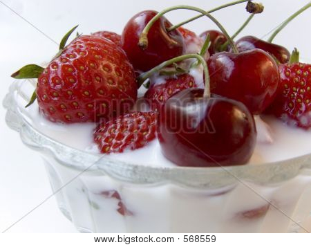 Strawberries An Cherries With Cream