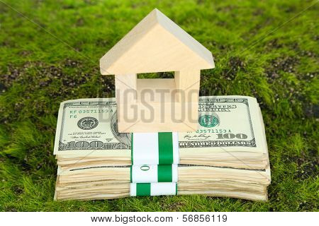 Wooden house on packs of dollars on grass close-up