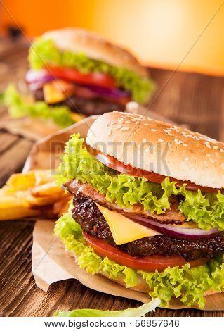 Delicious hamburger on wood
