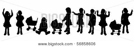 vector silhouette family