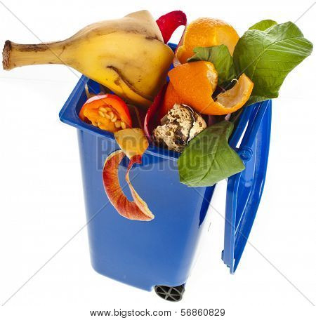 dumpster filled with household waste food  isolated on white background