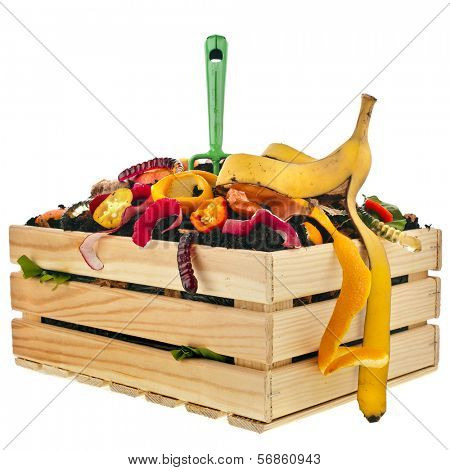 kitchen scraps in compost soil pile wooden crate box isolated on white background
