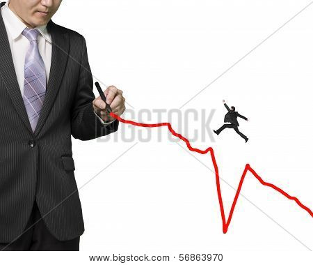 Businessman Drawing Growing Red Line Another Jumping Over Subsidence