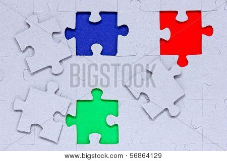 Puzzle With Different Colored Pieces