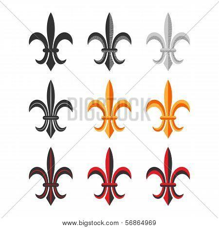 Fleur De Lis Royal Symbol Set. Vector