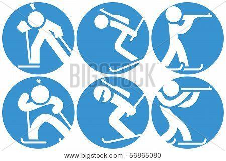 Biatlon Icons Set