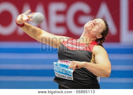 GOTHENBURG, SWEDEN - MARCH 3 Christina Schwanitz (Germany) wins the women's shot put finals during the European Athletics Indoor Championship on March 3, 2013 in Gothenburg, Sweden.