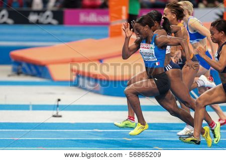 GOTHENBURG, SWEDEN - MARCH 3 Myriam Soumare (France) wins heat 2 of the women's 60m semifinals during the European Athletics Indoor Championship on March 3, 2013 in Gothenburg, Sweden.