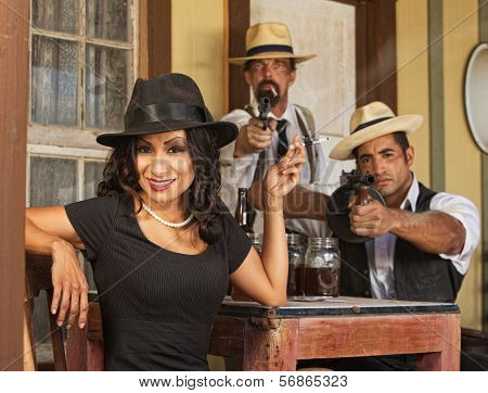 Smiling Woman with Vintage Gangsters