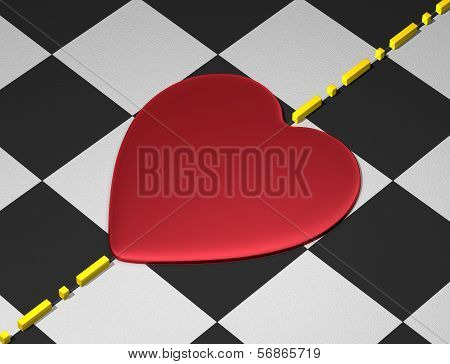 Red heart on checkered surface with divisional line
